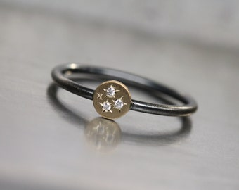 Cute 3 Starburst Diamond 14K Yellow Gold Silver Ring Cosmic Sparkle Oxidized Band Delicate Tiny Brilliant Gemstone Stacking Gift - Dreistern