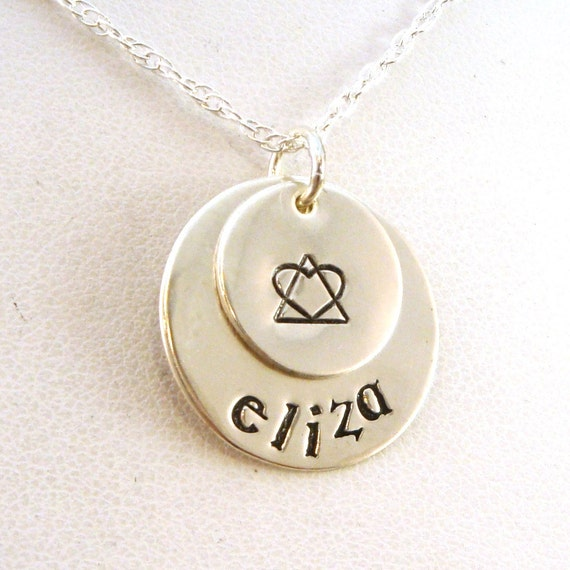 Adoption Symbol Personalized Necklace Two Disk Layered