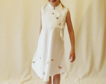 Linen occasion dress with hand embroidery - with colorful butterflies