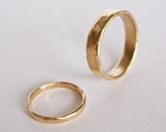 Two Organic Shape Gold Rings - Wedding Ring Set - Two Textured Bands  - 18 Carat Gold Molten Ring - Men's Women's - Couples - Unique