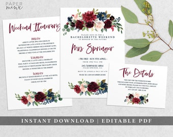 Burgundy Floral Bachelorette Weekend Invitation | Bachelorette Itinerary Template | Editable | Weekend Itinerary | Hens Weekend Invitation