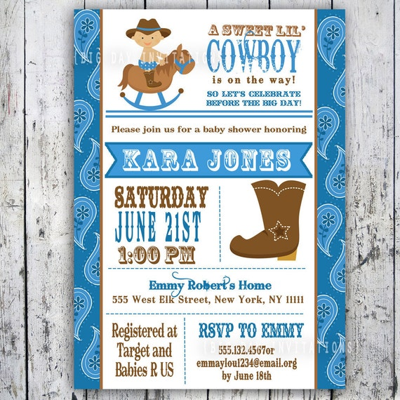 Lilu0027 Cowboy Baby Shower Invitation Custom Printable