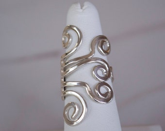 Sterling Silver Ring for Women, Silver Scroll Ring, Wraparound Silver Ring, Adjustable Sterling Silver Ring