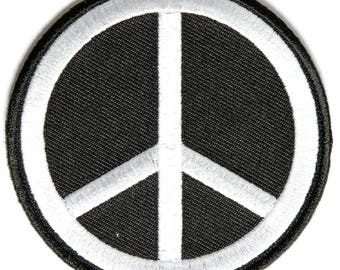 Black White Peace Sign Patch - By Ivamis Trading - 3x3 inch P3488