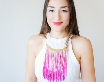 Statement Necklace Fringe Necklace Shades of Pink Holiday Jewelry Idea for Women Gift/ CHEOXA