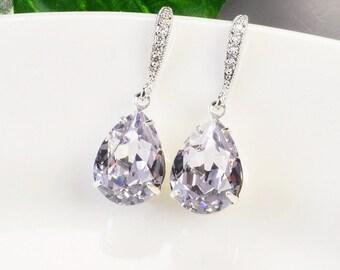 Lavender Earrings Bridal Purple Crystal Earrings Swarovski Bridesmaids Jewelry Silver Light Purple Teardrop Wedding Earrings Bridal Jewelry