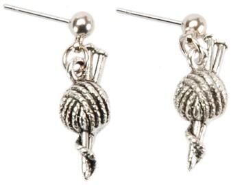 Yarn and Needle Earrings Set Knitting Gift