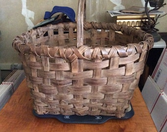 Antique splint oak gathering basket