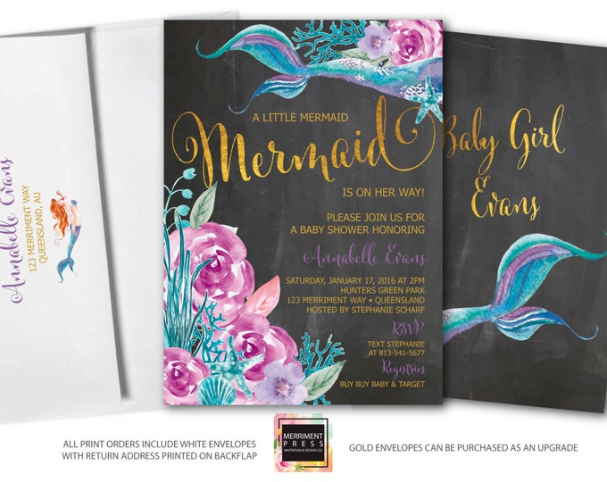 Mermaid Baby Shower Invitation // Under the Sea Invitation // Watercolor // Gold // Floral // Girls // Purple // QUEENSLAND COLLECTION