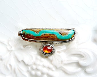Ribbon Turquoise Brooch Pin  - Carnelian Gem, Sterling Silver, OOAK