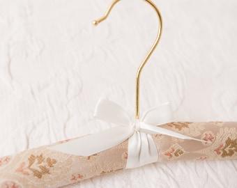 Vintage Inspired Wedding Dress Hanger, Bridal Hanger, Wedding Hanger, Tapestry Bride Hanger with Pink