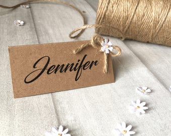 Rustic Handmade Brown Card Twine Floral Wedding Place Card Names