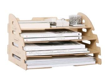 DIY Wood Hand Made Desk Organizer Office School Supplies Desk Accessories Organizer 4 Layers File Tray Book Holder