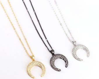 5Pcs Mix Color Micro Pave CZ Cubic Zirconia Crescent / Double Horn Pendant Necklace Metal Chain Necklace