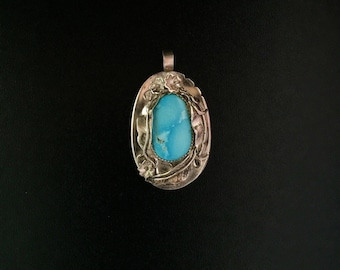 Sterling Silver Pendant featuring Sleeping Beauty Turquoise