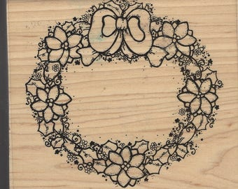 Poinsettia Wreath D.O.T.S. Wooden Rubber Stamp 113 Christmas Wreath Stamp Perfect for Card Making or Scrapbooking Retired Wood Stamp