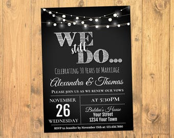 We Still Do Invitation, Wedding Anniversary Invitation, Anniversary Renewal Invitation, Vow Renewal Invitation, Chalkboard, Instant Download
