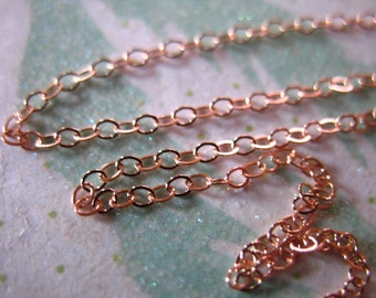 5 feet, 14k ROSE Gold Fill Chain, Flat Cable Chain, 2x1.5 mm, 10-15% Less Bulk, Oval Links rg rgchains wholesale necklace chain - ssgf sgf11