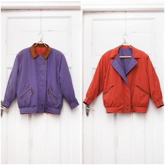 Vintage 80s Purple Check 1/3 Zipper Lightweight Shirt Size M - L ow0KhGH