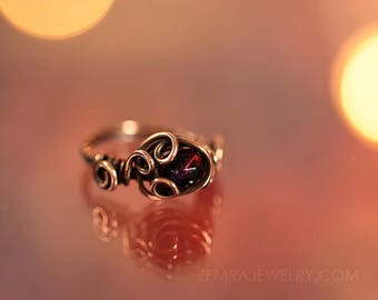 Copper Wire Wrap Ring with Garnet Czech Glass Bead. Size 7 Copper Wire Swirls & Loops Garnet Color January Birthstone Pomegranate Ring