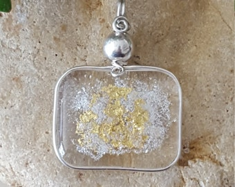 Modern fused glass pendant, modern beach pendant, sand, beach jewelry W/ 23K gold, and wire wrapped in Fine Silver.