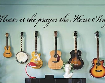 Music is the Prayer the Heart Sings Wall Decal, Inspirational Quote, Removable Vinyl Letters, Multiple Colors