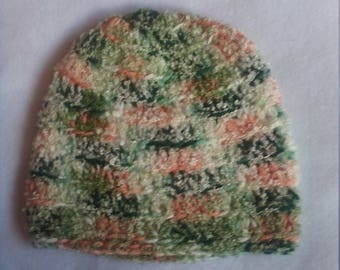 half price skull hat in shades of green and peach