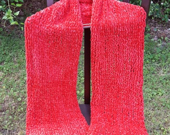 Fleece-like Red Scarf/Wrap