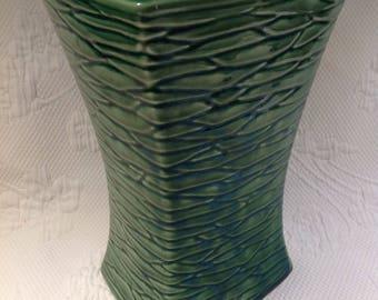 "Vintage McCoy square green vase ""Bark"" pattern - rectangular flower Vase - forest green Collection / / made in the United States"