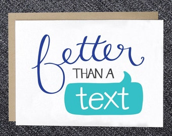 PRINTABLE Note Card - Better than a Text - DIY Instant Download