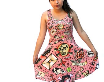Old School Tattoos Skater Dress - printed flared tank dress - vintage tattoo flash dress - USA XS-3XL - rose or gray or white background