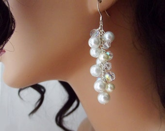 White Pearl and Crystal Earrings, Wedding Dangle Earrings, Pearl Bridal Earrings, Bridesmaid Jewelry