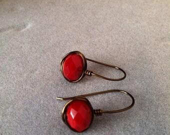 Vintage Bronze Red Briolette Earrings