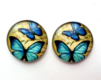 Cabochons • butterflies • blue and beige set of 2 cabochon 25mm