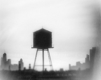 Chicago Water Tower Art /  skyline photography / Chicago art print / neutral wall art / industrial decor / ghost image / urban home decor