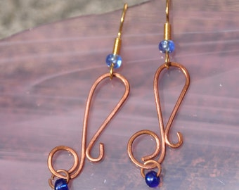 Handmade Copper Wire Dangle Earrings, Gold Plated Hooks, Blue Glass Beads, Quaver/Eighth Note