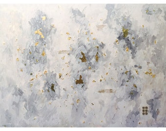 "Atmosphere - Extra Large Original Acrylic Mixed Media Painting With Gold Leaf, Brass Details & Birch Bark - 36""x48""x.5"""