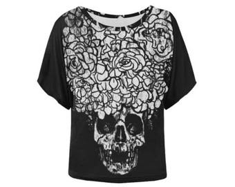 Floral Skull Batwing-Sleeved Blouse