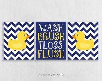 Bathroom Wall Art Prints Set of 3 - Bathroom Decor - Rubber Ducky Bathroom - Childrens Bathroom Art - Shared Bathroom - Navy and Yellow Bath