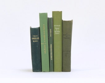 Set of vintage french books / shades of green / French literature / Decorative books / Set of 5 french books