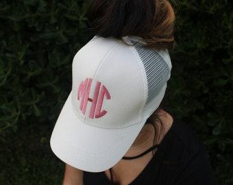 CC Hat, CC Cap, Pony Cap, CC pony Hat, Ponytail hat, ponytail cap, Monogram Cap, Monogram hat, Personalized hat, Personalized cap