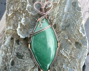 Serpentine Copper Wire Wrapped Large Pendant Green Necklace