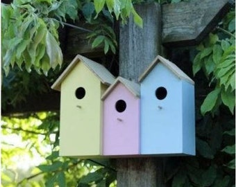 Triple Wooden Bird House / Bird Feeder