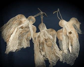 Primitive hängenden Halloween Ghost Ornies-Biesen 3er-Set