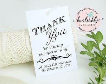 Thank You Tag, Wedding Thank You Tag Template, Gift Tag, Wedding Favor, Thank You PRINTABLE, Editable Wedding Printable DOWNLOAD, BEA608