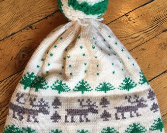 Vintage wool knit winter hat toboggan