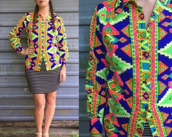 1960s Judy Ann of California neon psychedelic blouse