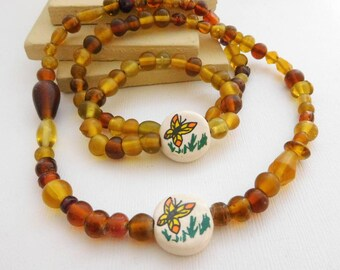 Vintage Amber Brown Honey Yellow Glass Butterfly Bead Necklace Bracelet Set SS3
