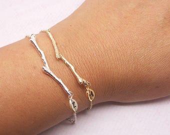 Tree Branch Bracelet, Twig Bracelet, Bridesmaid Bracelet, Personalized Initial Bracelet, Branch Jewelry, Twig Pendant, Tree Twig BB597