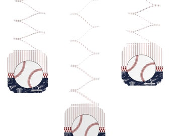 Set of 6 Batter Up! Baseball Hanging Decorations -Party Decorations